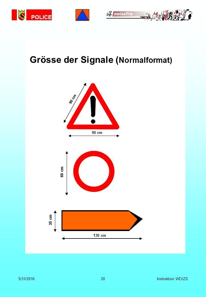 POLICE 5/31/201620Instruktion WD/ZS 60 cm 90 cm 130 cm 35 cm Grösse der Signale ( Normalformat)