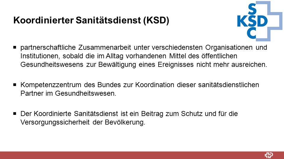 Koordinierter Sanitätsdienst (KSD)  partnerschaftliche Zusammenarbeit unter verschiedensten Organisationen und Institutionen, sobald die im Alltag vo