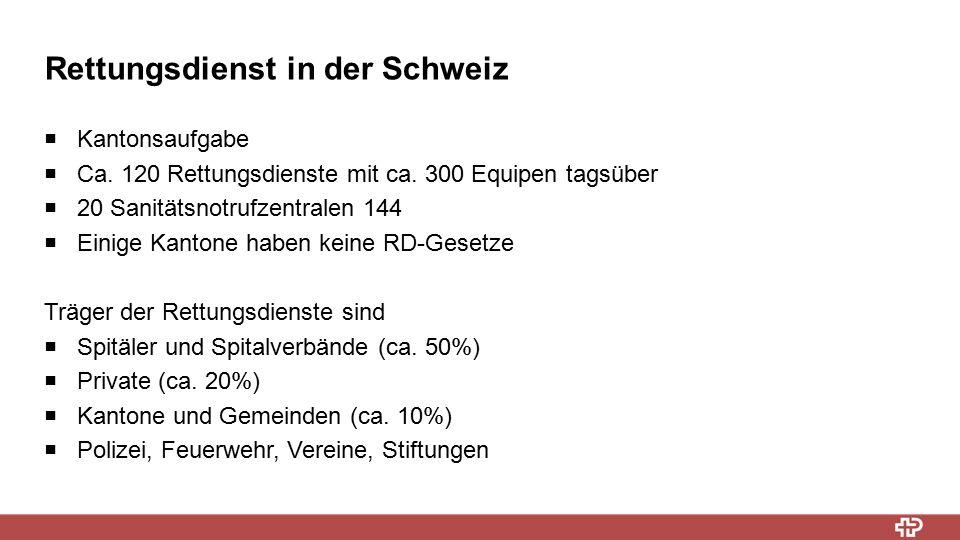 Rettungsdienst in der Schweiz  Kantonsaufgabe  Ca. 120 Rettungsdienste mit ca. 300 Equipen tagsüber  20 Sanitätsnotrufzentralen 144  Einige Kanton