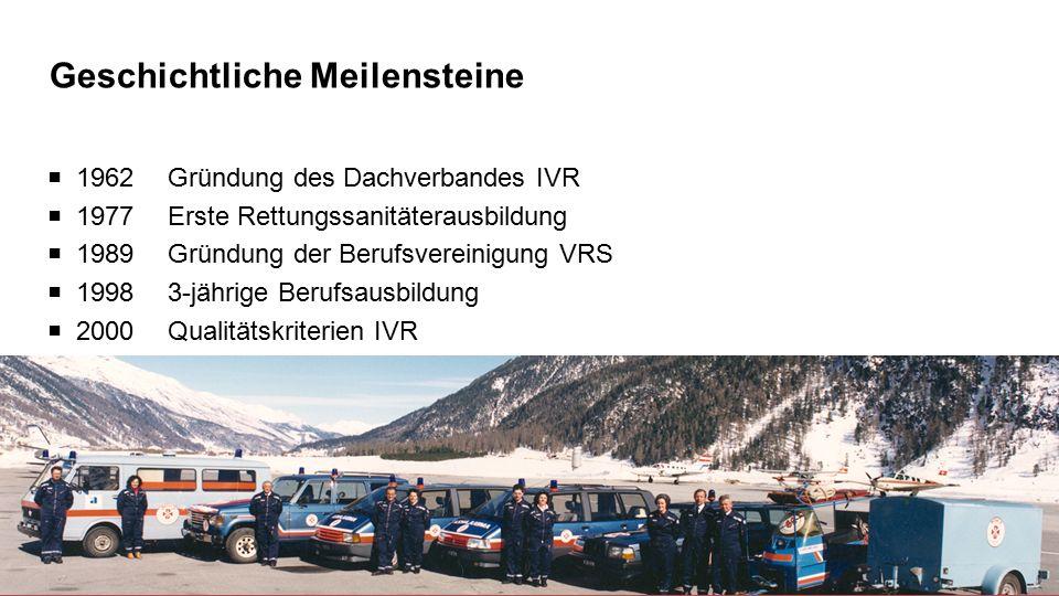 Geschichtliche Meilensteine 5  1962 Gründung des Dachverbandes IVR  1977 Erste Rettungssanitäterausbildung  1989 Gründung der Berufsvereinigung VRS