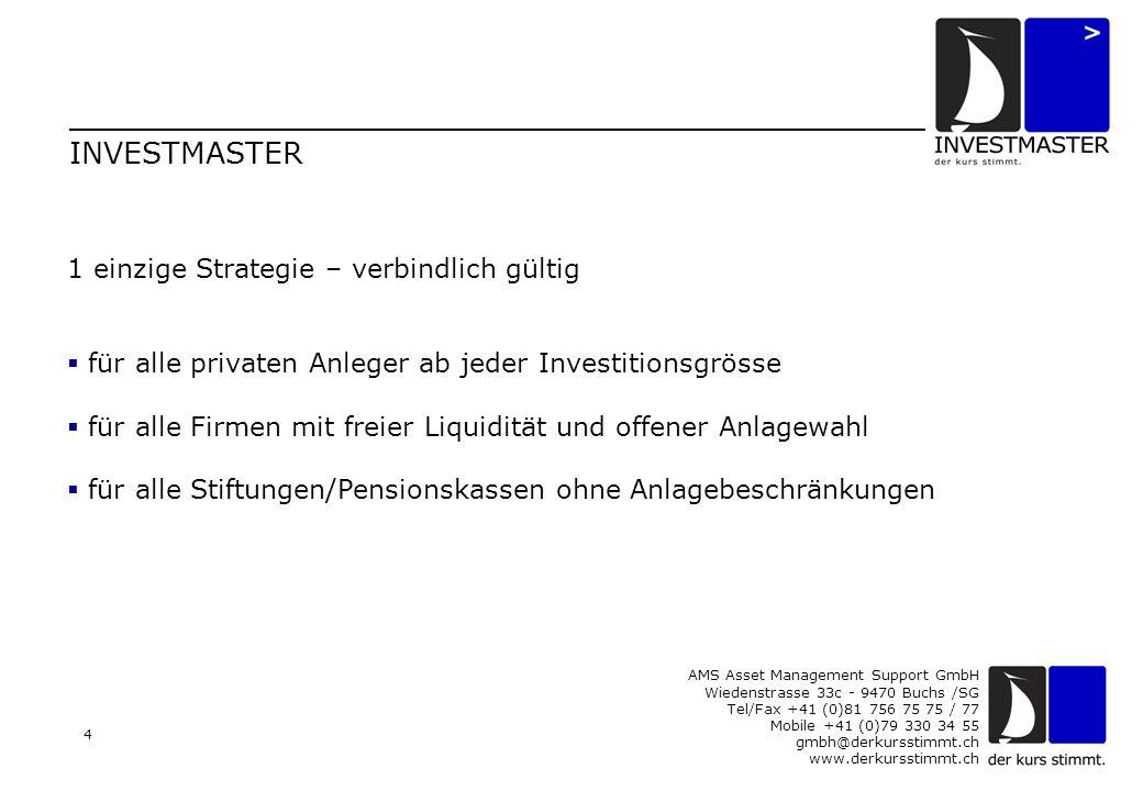 AMS Asset Management Support GmbH Wiedenstrasse 33c - 9470 Buchs /SG Tel/Fax +41 (0)81 756 75 75 / 77 Mobile +41 (0)79 330 34 55 gmbh@derkursstimmt.ch www.derkursstimmt.ch 4 INVESTMASTER 1 einzige Strategie – verbindlich gültig  für alle privaten Anleger ab jeder Investitionsgrösse  für alle Firmen mit freier Liquidität und offener Anlagewahl  für alle Stiftungen/Pensionskassen ohne Anlagebeschränkungen