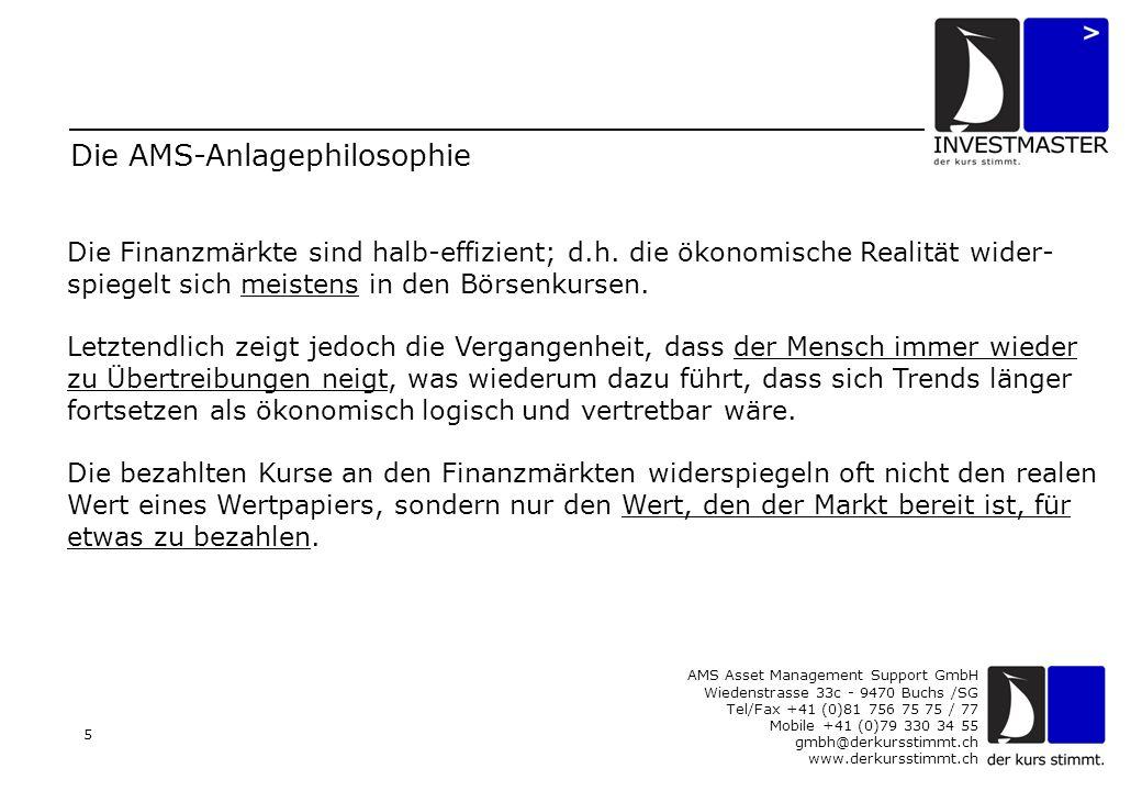 AMS Asset Management Support GmbH Wiedenstrasse 33c - 9470 Buchs /SG Tel/Fax +41 (0)81 756 75 75 / 77 Mobile +41 (0)79 330 34 55 gmbh@derkursstimmt.ch www.derkursstimmt.ch 5 Die AMS-Anlagephilosophie Die Finanzmärkte sind halb-effizient; d.h.