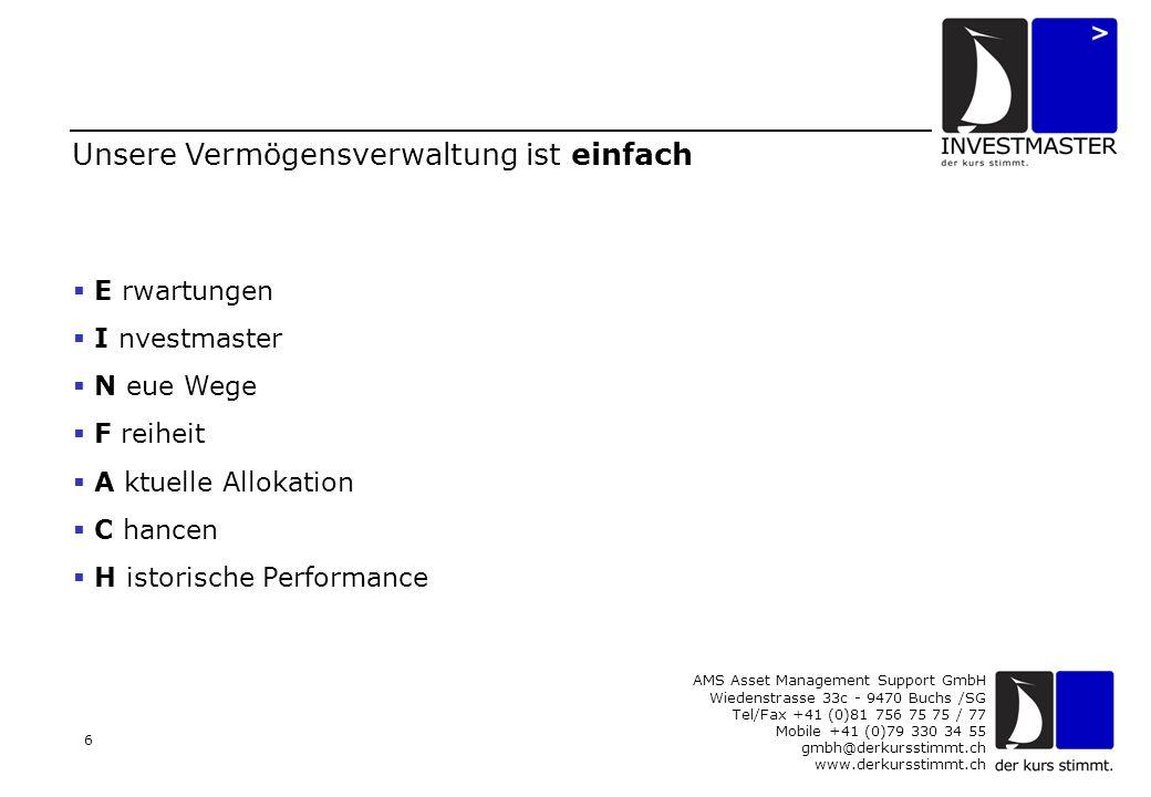 AMS Asset Management Support GmbH Wiedenstrasse 33c - 9470 Buchs /SG Tel/Fax +41 (0)81 756 75 75 / 77 Mobile +41 (0)79 330 34 55 gmbh@derkursstimmt.ch www.derkursstimmt.ch 7 E wie Erwartungen Es gibt tausende Möglichkeiten, sein Geld auszugeben; aber nur zwei, es zu erwerben: Entweder wir arbeiten für Geld oder das Geld arbeitet für uns. Bernhard Baruch, erfolgreichster Investor des 20.