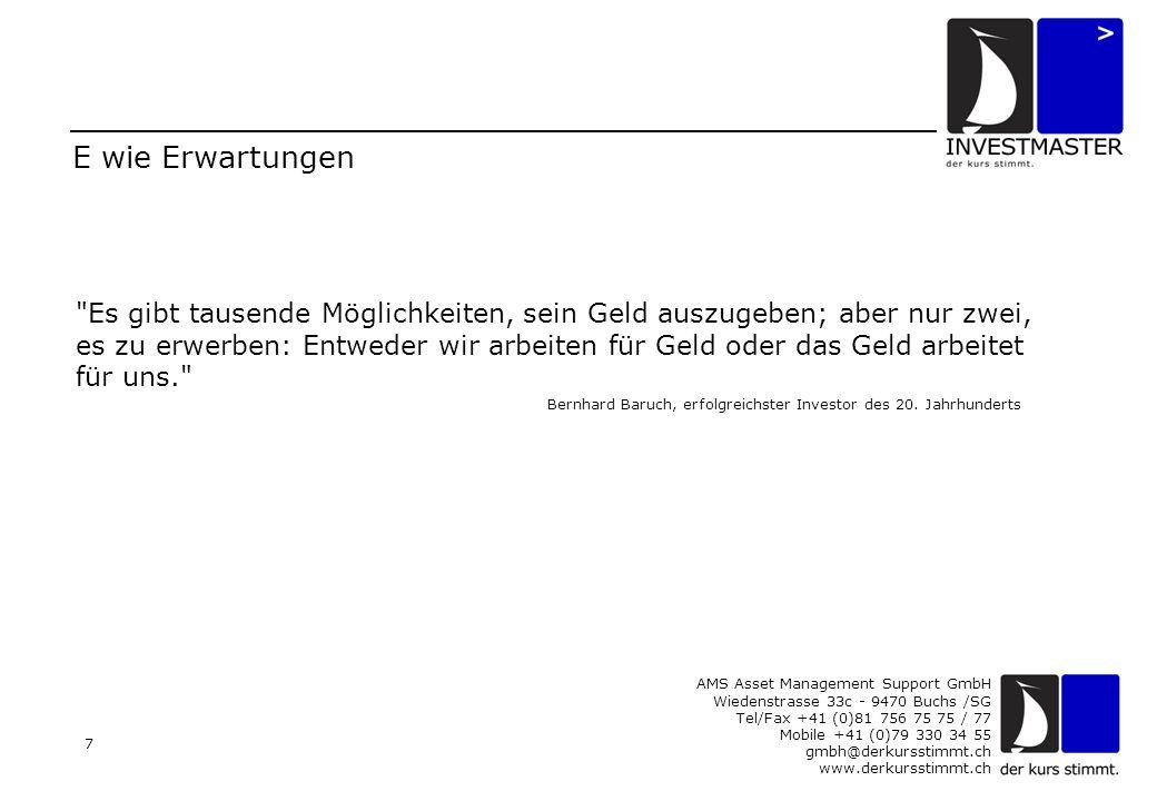AMS Asset Management Support GmbH Wiedenstrasse 33c - 9470 Buchs /SG Tel/Fax +41 (0)81 756 75 75 / 77 Mobile +41 (0)79 330 34 55 gmbh@derkursstimmt.ch www.derkursstimmt.ch 8 I wie INVESTMASTER Jede Periode an den Finanzmärkten hat ihre Gewinner und Verlierer.