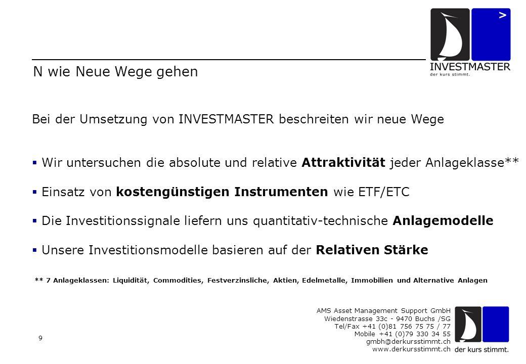 AMS Asset Management Support GmbH Wiedenstrasse 33c - 9470 Buchs /SG Tel/Fax +41 (0)81 756 75 75 / 77 Mobile +41 (0)79 330 34 55 gmbh@derkursstimmt.ch www.derkursstimmt.ch 9 N wie Neue Wege gehen Bei der Umsetzung von INVESTMASTER beschreiten wir neue Wege  Wir untersuchen die absolute und relative Attraktivität jeder Anlageklasse**  Einsatz von kostengünstigen Instrumenten wie ETF/ETC  Die Investitionssignale liefern uns quantitativ-technische Anlagemodelle  Unsere Investitionsmodelle basieren auf der Relativen Stärke ** 7 Anlageklassen: Liquidität, Commodities, Festverzinsliche, Aktien, Edelmetalle, Immobilien und Alternative Anlagen