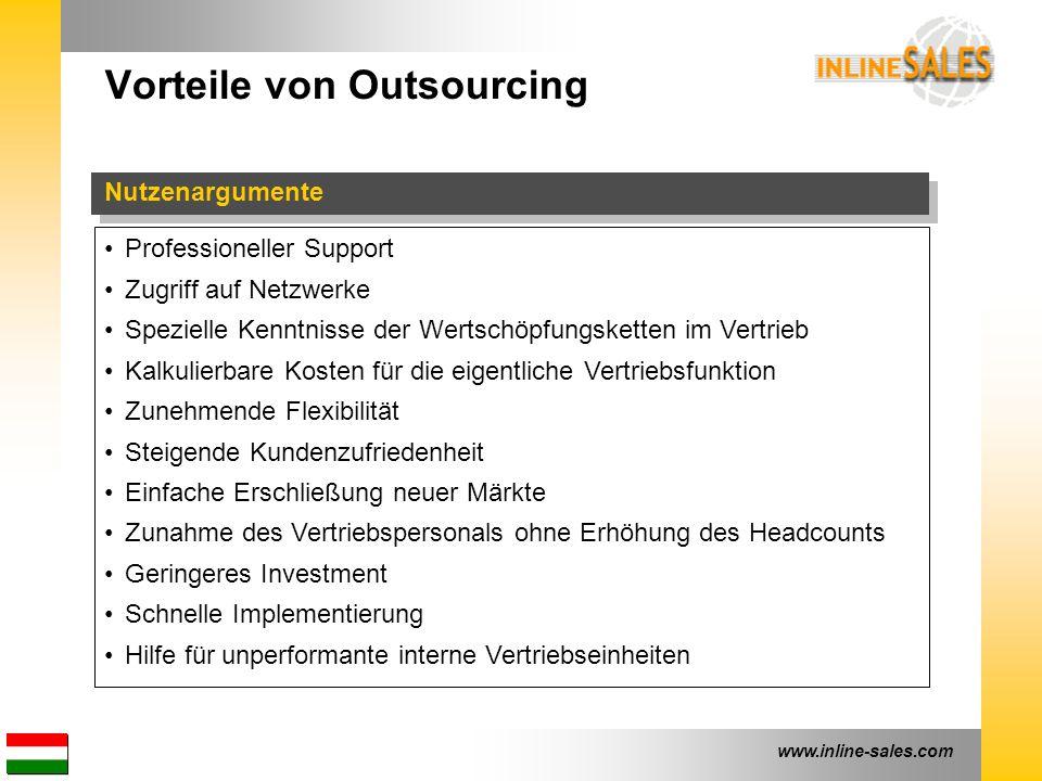 www.inline-sales.com Vorteile von Outsourcing Nutzenargumente Professioneller Support Zugriff auf Netzwerke Spezielle Kenntnisse der Wertschöpfungsket