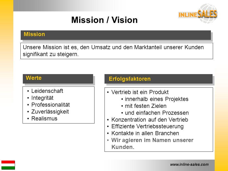 www.inline-sales.com Mission / Vision Unsere Mission ist es, den Umsatz und den Marktanteil unserer Kunden signifikant zu steigern. Leidenschaft Integ