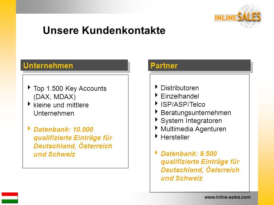 www.inline-sales.com Unternehmen Unsere Kundenkontakte  Top 1.500 Key Accounts (DAX, MDAX)  kleine und mittlere Unternehmen  Datenbank: 10.000 qual