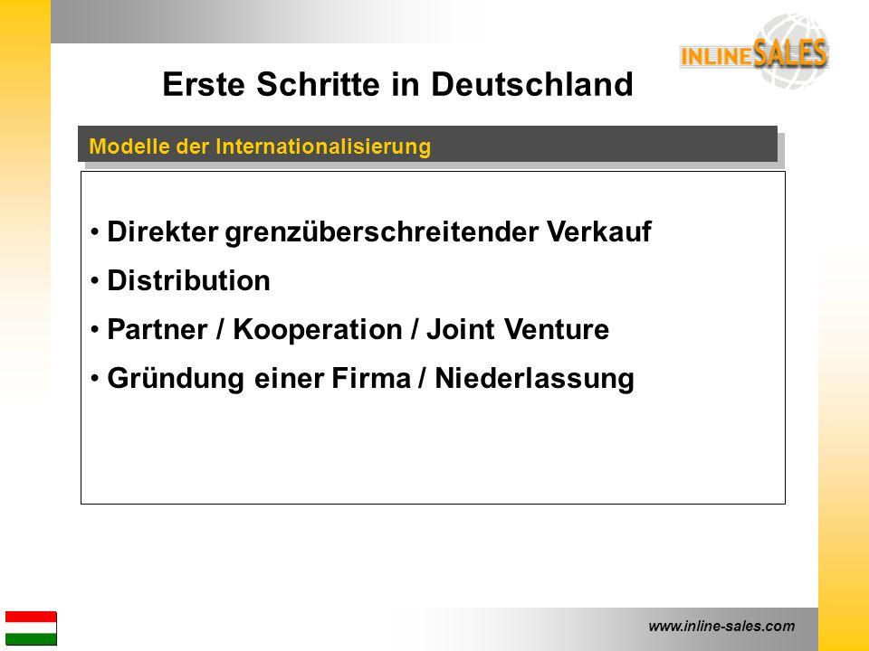 www.inline-sales.com Erste Schritte in Deutschland Vorteile Direkter grenzüberschreitender Verkauf - Geschwindigkeit - geringe Kosten - keine Organisation Distribution - lokaler Partner - Logistik & Warenlager - geringe Investition Partner / Kooperation / Joint Venture - lokale Präsenz - komplette Organisation - tiefe Marktkenntnis Gründung einer Firma / Niederlassung - Eigenverantwortlichkeiten - Steuerung aller Prozesse und Ressourcen - Starke, lokale Präsenz Zunehmender Grad an Selbstständigkeit
