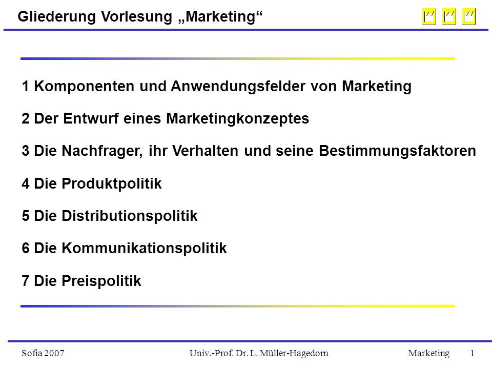 "Univ.-Prof. Dr. L. Müller-HagedornSofia 2007Marketing 1 Gliederung Vorlesung ""Marketing"" 1 Komponenten und Anwendungsfelder von Marketing 2 Der Entwur"