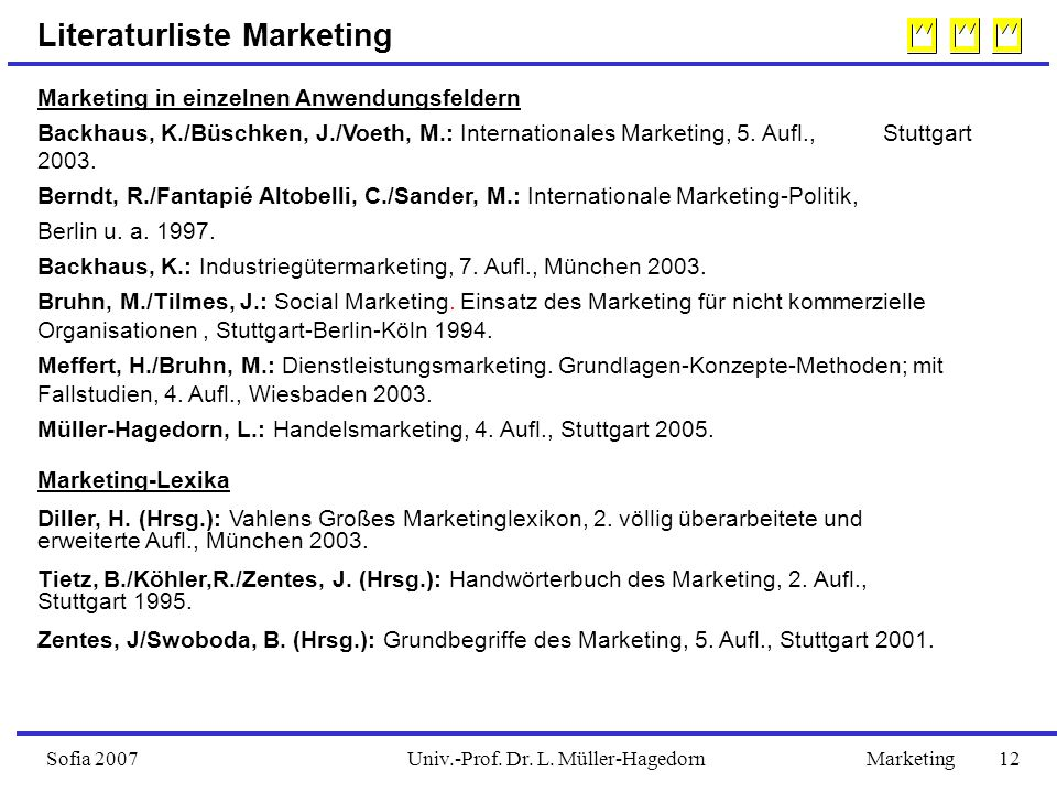 Univ.-Prof. Dr. L. Müller-HagedornSofia 2007Marketing 12 Literaturliste Marketing Marketing in einzelnen Anwendungsfeldern Backhaus, K./Büschken, J./V