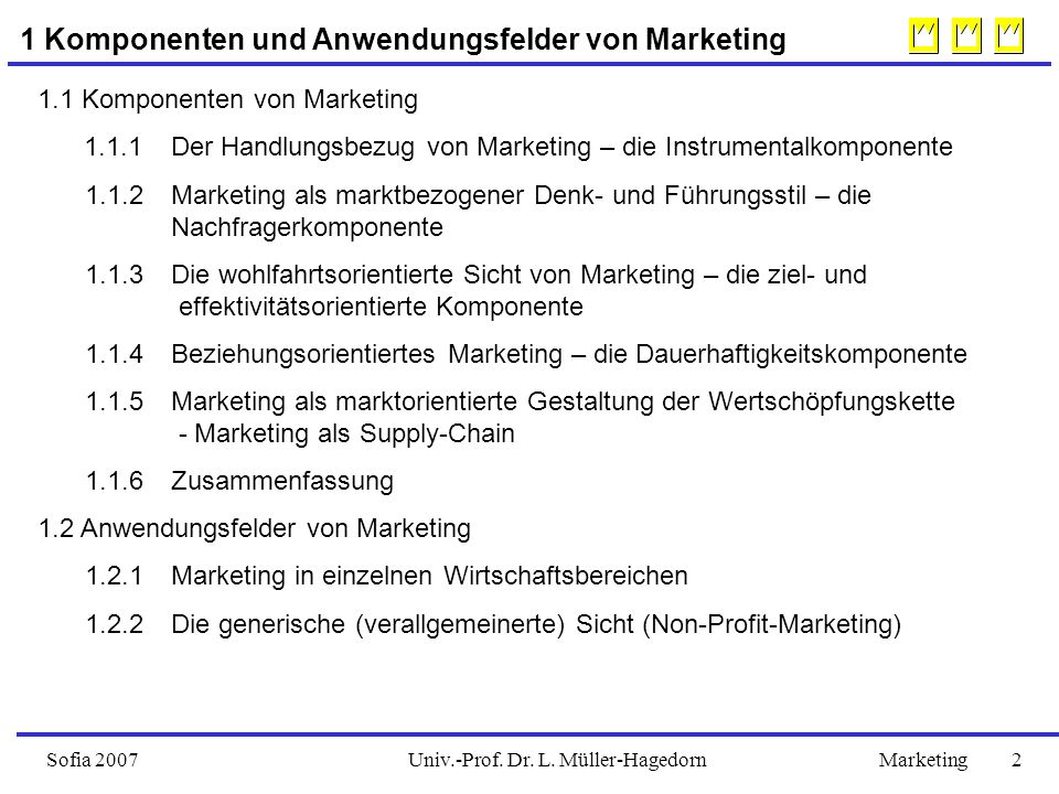 Univ.-Prof. Dr. L. Müller-HagedornSofia 2007Marketing 2 1 Komponenten und Anwendungsfelder von Marketing 1.1 Komponenten von Marketing 1.1.1 Der Handl