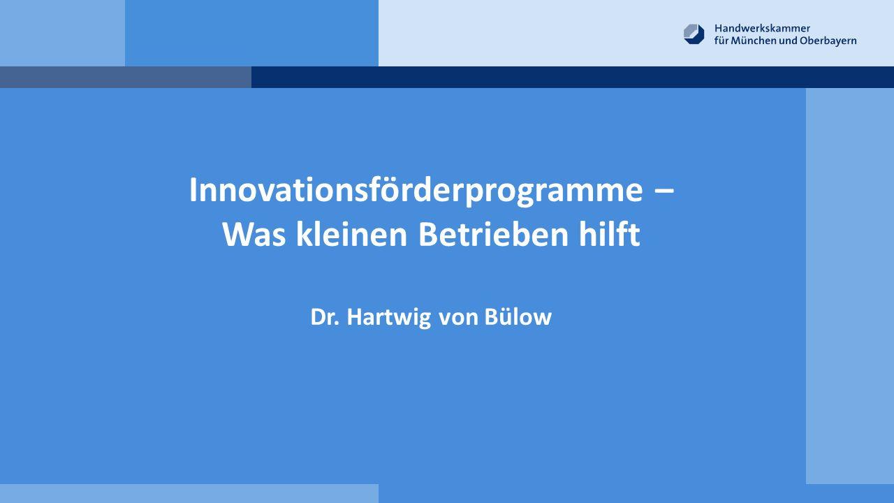 Innovationsförderprogramme – Was kleinen Betrieben hilft Dr. Hartwig von Bülow