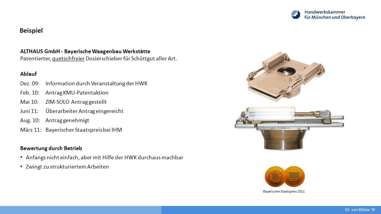 ALTHAUS GmbH - Bayerische Waagenbau Werkstätte Patentierter, quetschfreier Dosierschieber für Schüttgut aller Art. Ablauf Dez. 09:Information durch Ve