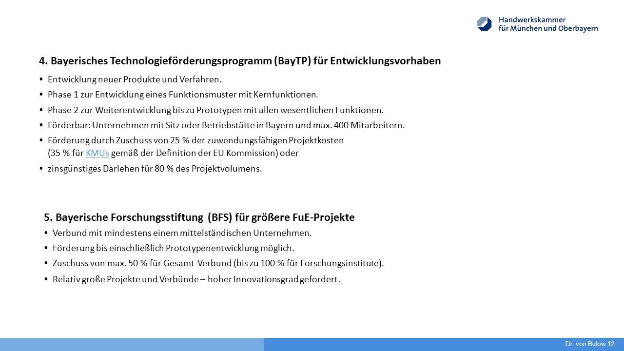 4. Bayerisches Technologieförderungsprogramm (BayTP) für Entwicklungsvorhaben  Entwicklung neuer Produkte und Verfahren.  Phase 1 zur Entwicklung ei