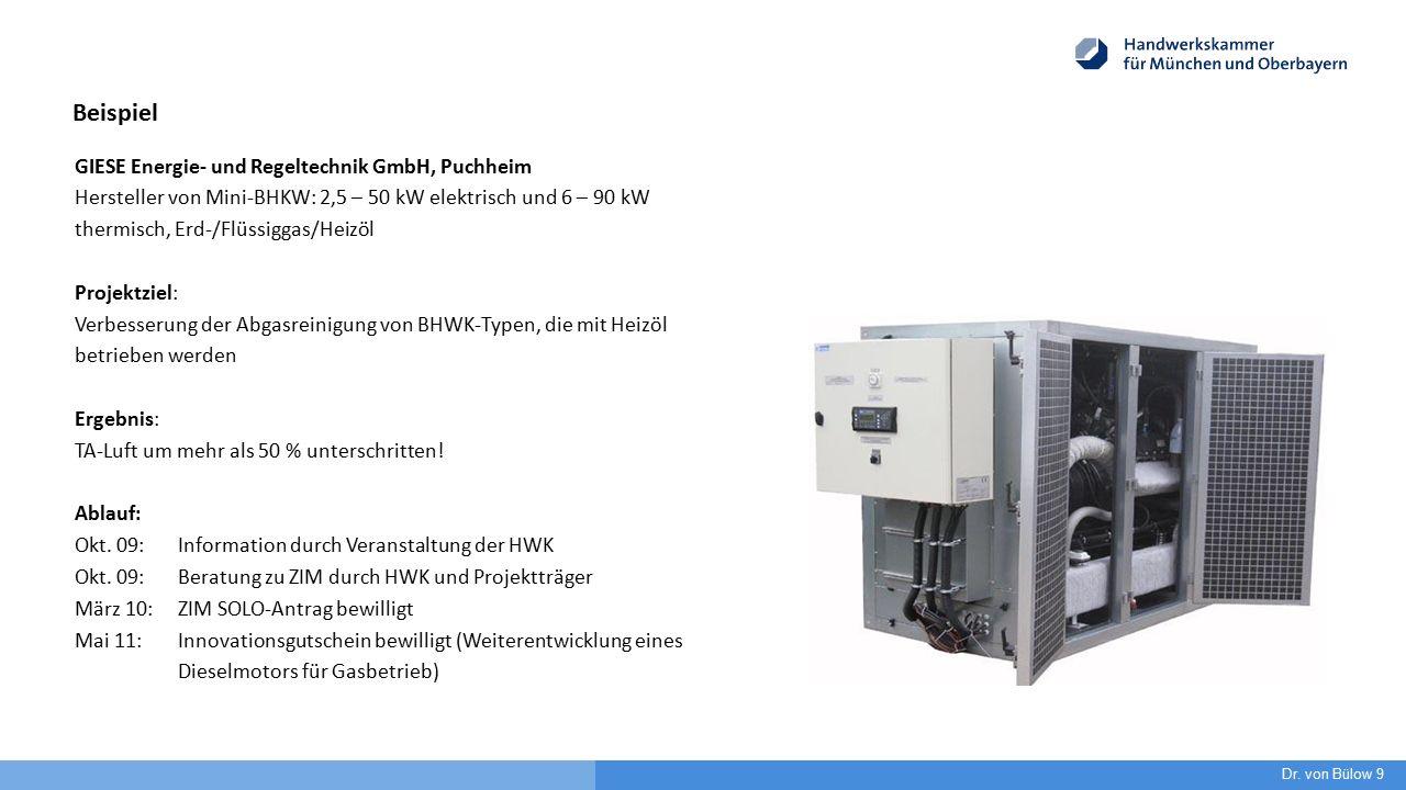 GIESE Energie- und Regeltechnik GmbH, Puchheim Hersteller von Mini-BHKW: 2,5 – 50 kW elektrisch und 6 – 90 kW thermisch, Erd-/Flüssiggas/Heizöl Projektziel: Verbesserung der Abgasreinigung von BHWK-Typen, die mit Heizöl betrieben werden Ergebnis: TA-Luft um mehr als 50 % unterschritten.