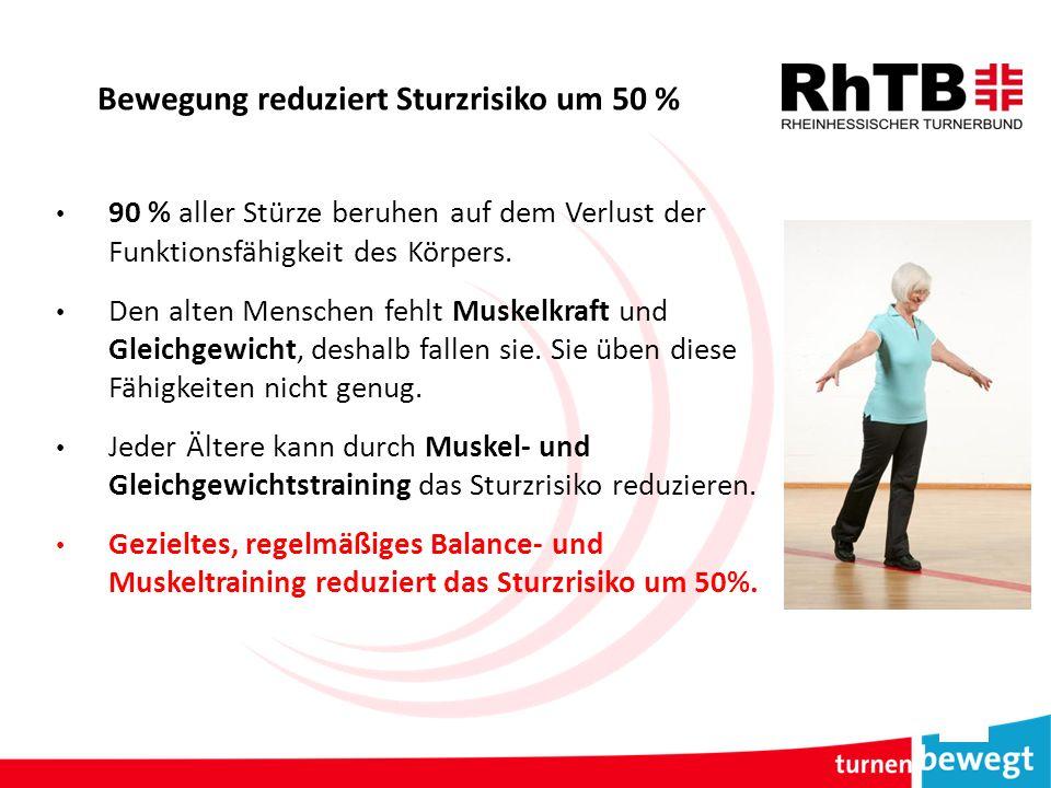 Bewegung reduziert Sturzrisiko um 50 % 90 % aller Stürze beruhen auf dem Verlust der Funktionsfähigkeit des Körpers. Den alten Menschen fehlt Muskelkr