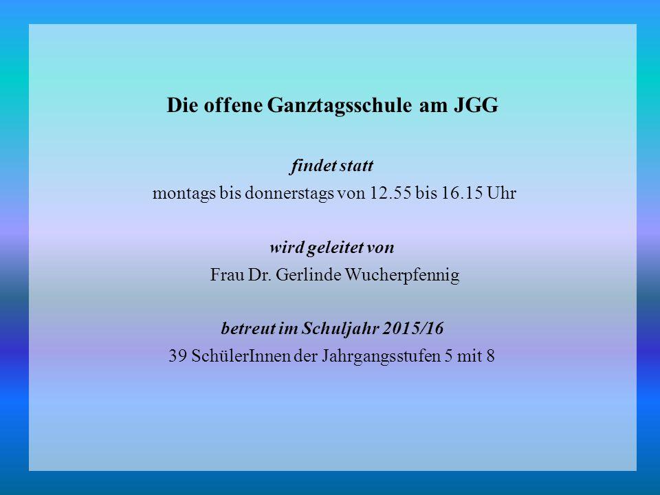 Die offene Ganztagsschule am JGG findet statt montags bis donnerstags von 12.55 bis 16.15 Uhr wird geleitet von Frau Dr.