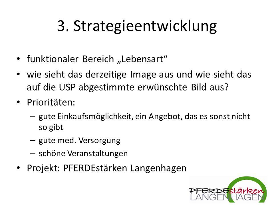 """3. Strategieentwicklung funktionaler Bereich """"Lebensart"""" wie sieht das derzeitige Image aus und wie sieht das auf die USP abgestimmte erwünschte Bild"""