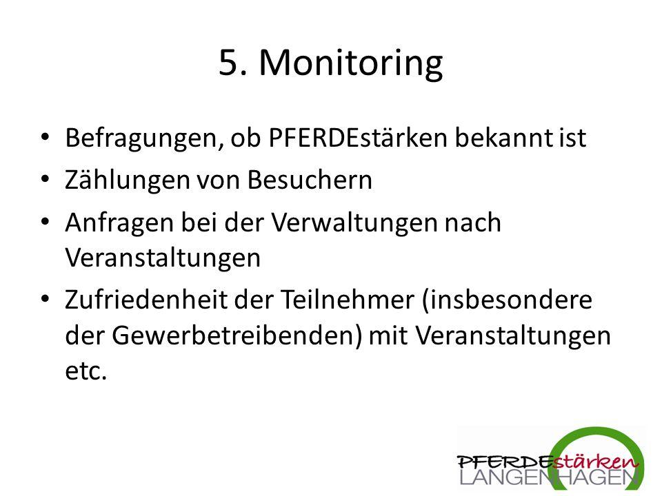 5. Monitoring Befragungen, ob PFERDEstärken bekannt ist Zählungen von Besuchern Anfragen bei der Verwaltungen nach Veranstaltungen Zufriedenheit der T