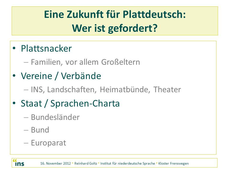 16. November 2012 · Reinhard Goltz · Institut für niederdeutsche Sprache · Kloster Frenswegen Eine Zukunft für Plattdeutsch: Wer ist gefordert? Platts