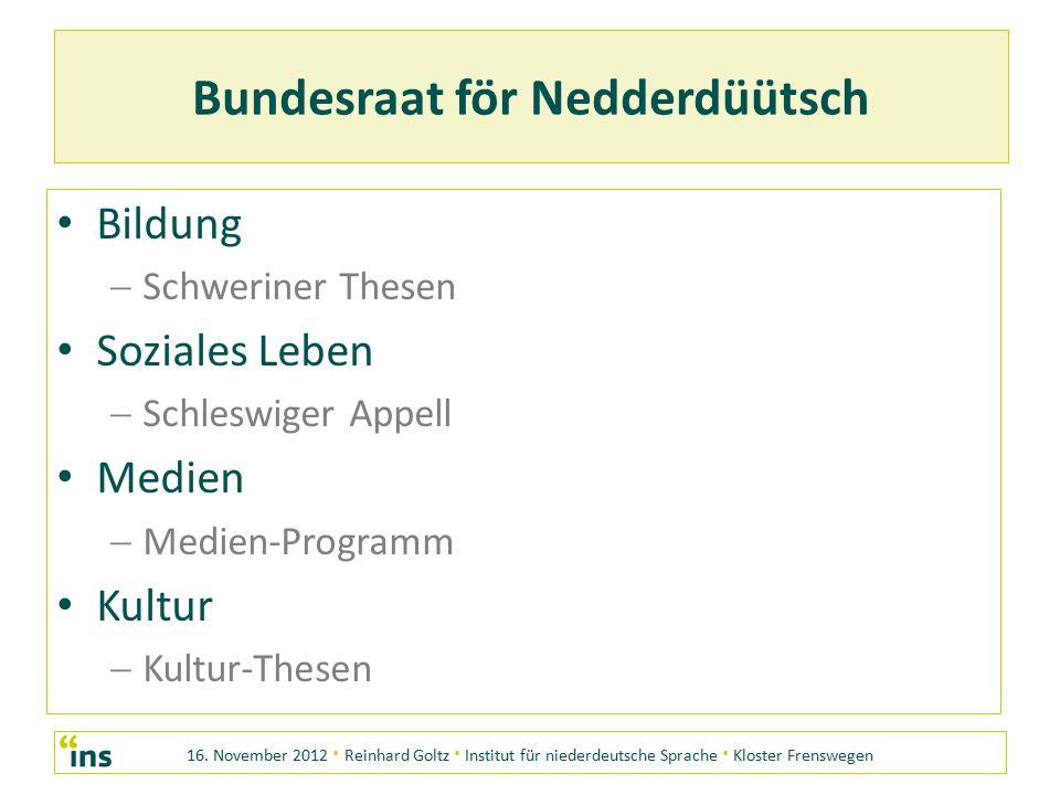 16. November 2012 · Reinhard Goltz · Institut für niederdeutsche Sprache · Kloster Frenswegen Bundesraat för Nedderdüütsch Bildung SS chweriner Thes