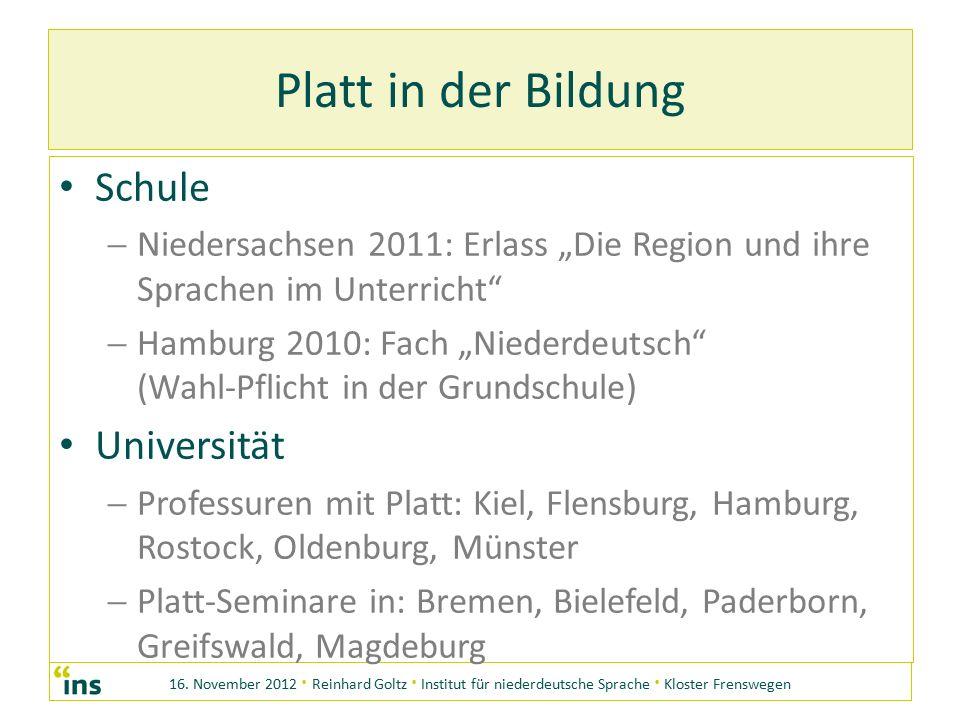 16. November 2012 · Reinhard Goltz · Institut für niederdeutsche Sprache · Kloster Frenswegen Platt in der Bildung Schule NN iedersachsen 2011: Erla