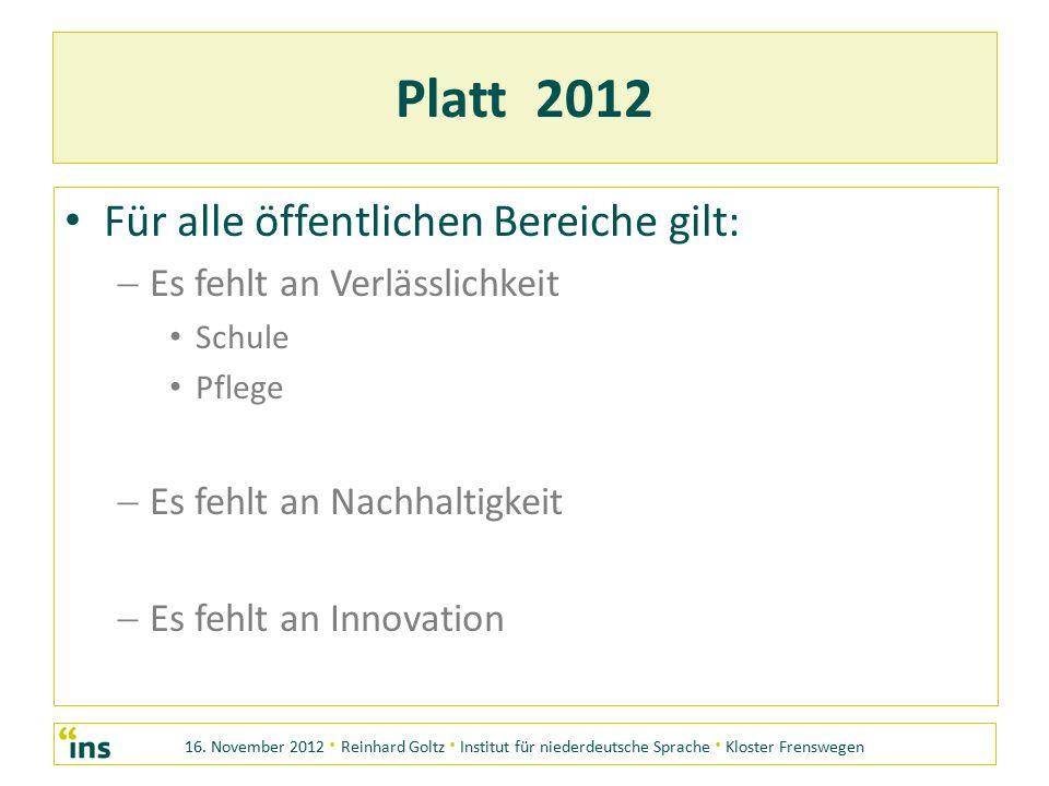 16. November 2012 · Reinhard Goltz · Institut für niederdeutsche Sprache · Kloster Frenswegen Platt 2012 Für alle öffentlichen Bereiche gilt: EE s f