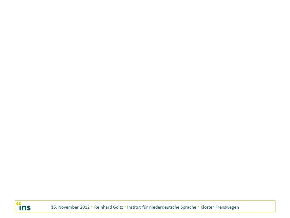 16. November 2012 · Reinhard Goltz · Institut für niederdeutsche Sprache · Kloster Frenswegen