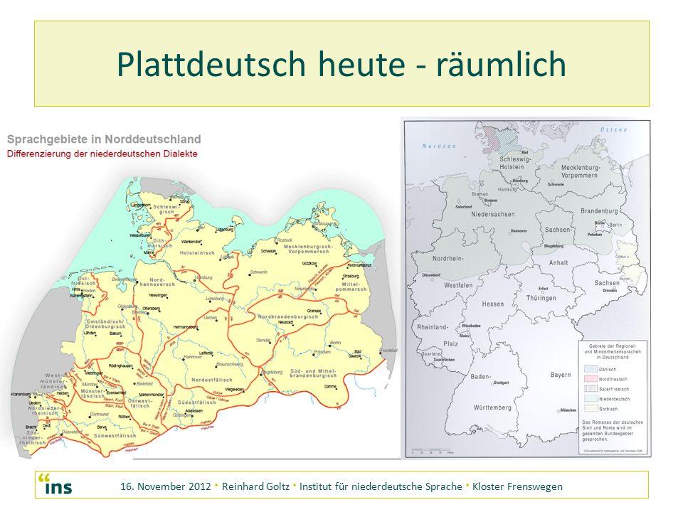16. November 2012 · Reinhard Goltz · Institut für niederdeutsche Sprache · Kloster Frenswegen Plattdeutsch heute - räumlich