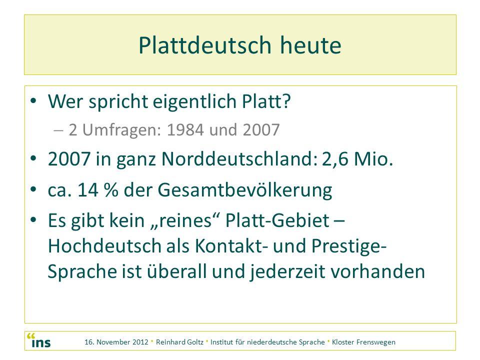 16. November 2012 · Reinhard Goltz · Institut für niederdeutsche Sprache · Kloster Frenswegen Plattdeutsch heute Wer spricht eigentlich Platt? 22 Um