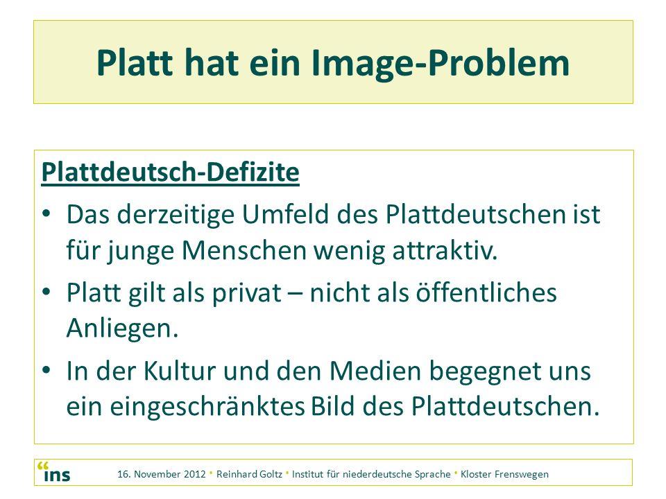 16. November 2012 · Reinhard Goltz · Institut für niederdeutsche Sprache · Kloster Frenswegen Platt hat ein Image-Problem Plattdeutsch-Defizite Das de