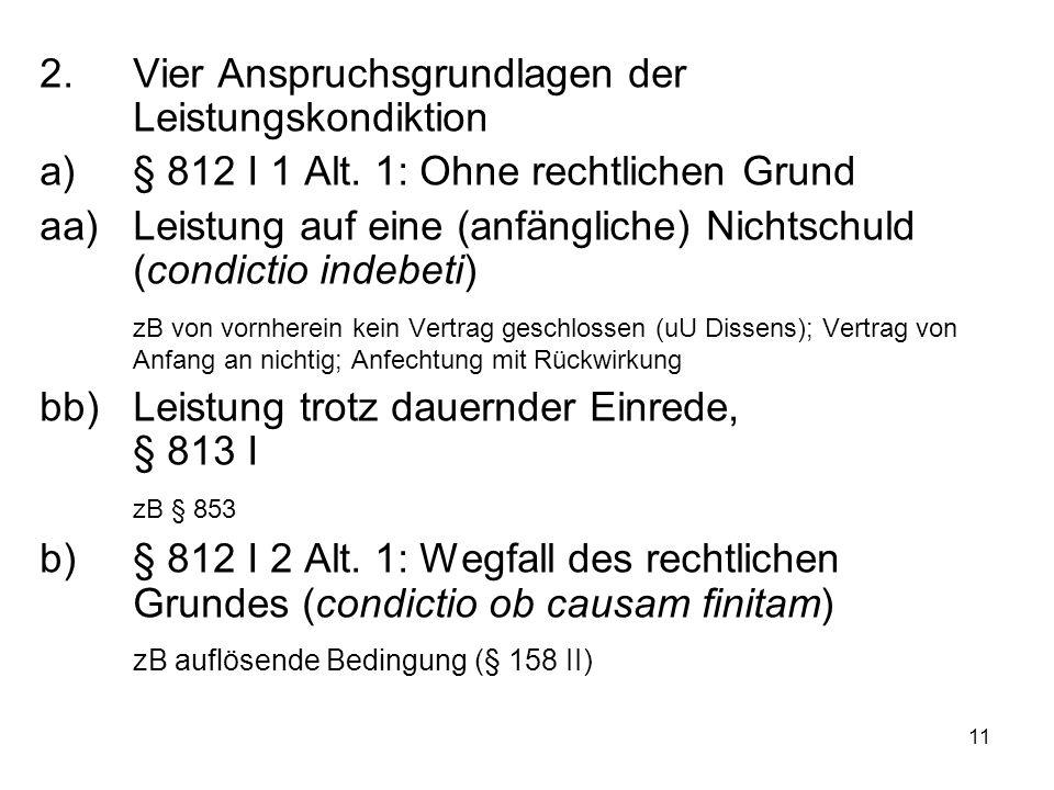 11 2. Vier Anspruchsgrundlagen der Leistungskondiktion a)§ 812 I 1 Alt. 1: Ohne rechtlichen Grund aa)Leistung auf eine (anfängliche) Nichtschuld (cond