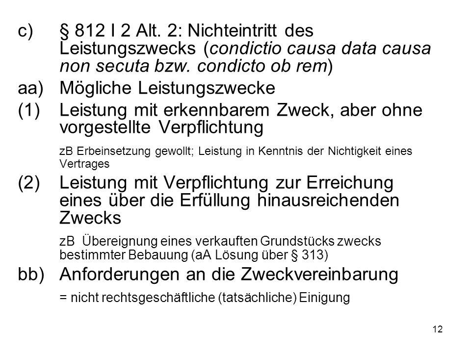 12 c)§ 812 I 2 Alt. 2: Nichteintritt des Leistungszwecks (condictio causa data causa non secuta bzw. condicto ob rem) aa)Mögliche Leistungszwecke (1)L