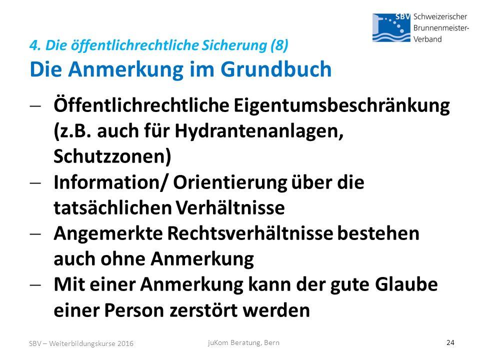 4. Die öffentlichrechtliche Sicherung (8) Die Anmerkung im Grundbuch SBV – Weiterbildungskurse 2016 juKom Beratung, Bern24  Öffentlichrechtliche Eige