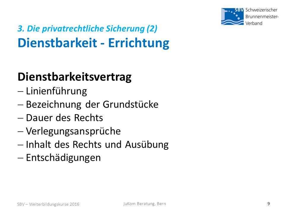3. Die privatrechtliche Sicherung (2) Dienstbarkeit - Errichtung SBV – Weiterbildungskurse 2016 juKom Beratung, Bern9 Dienstbarkeitsvertrag  Linienfü