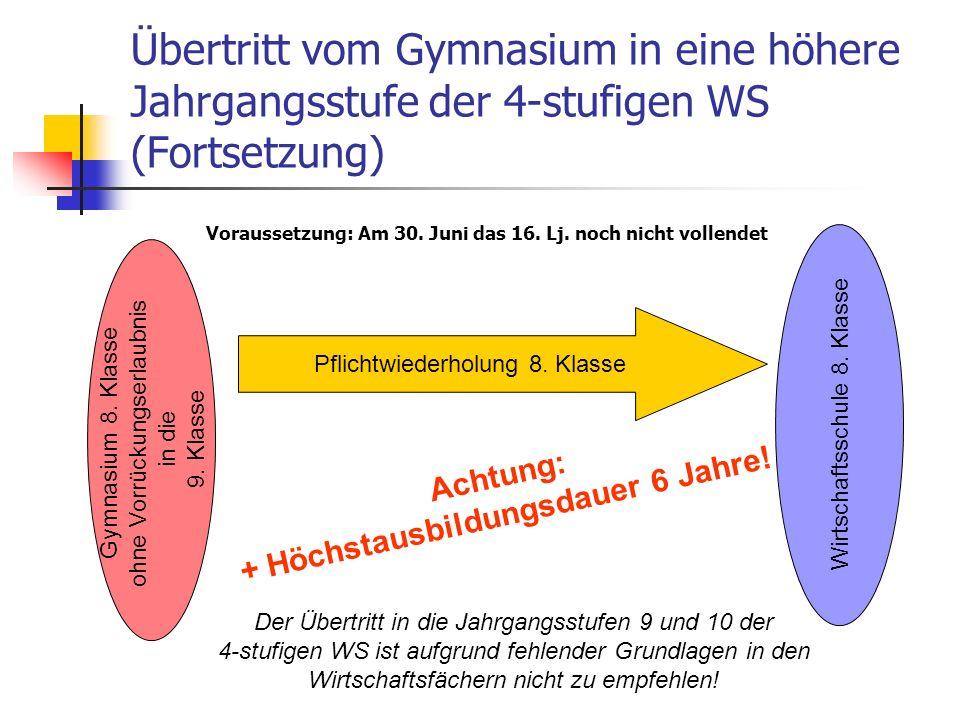 Übertritt vom Gymnasium in eine höhere Jahrgangsstufe der 4-stufigen WS (Fortsetzung) Gymnasium 8.