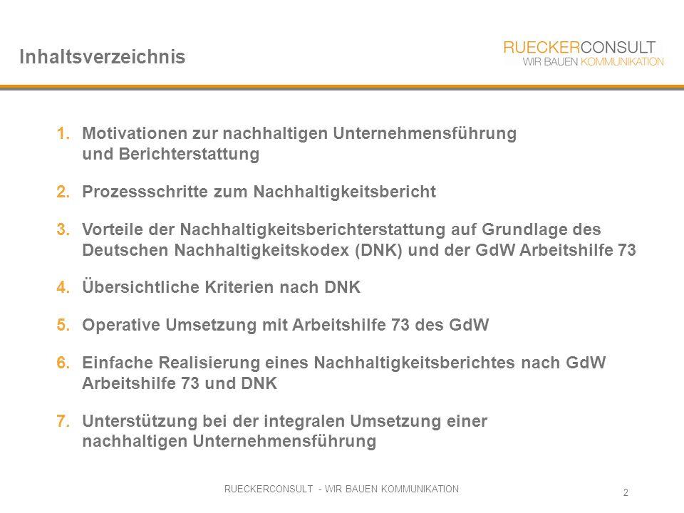 RUECKERCONSULT - WIR BAUEN KOMMUNIKATION 2 1.Motivationen zur nachhaltigen Unternehmensführung und Berichterstattung 2.Prozessschritte zum Nachhaltigkeitsbericht 3.Vorteile der Nachhaltigkeitsberichterstattung auf Grundlage des Deutschen Nachhaltigkeitskodex (DNK) und der GdW Arbeitshilfe 73 4.Übersichtliche Kriterien nach DNK 5.Operative Umsetzung mit Arbeitshilfe 73 des GdW 6.Einfache Realisierung eines Nachhaltigkeitsberichtes nach GdW Arbeitshilfe 73 und DNK 7.Unterstützung bei der integralen Umsetzung einer nachhaltigen Unternehmensführung Inhaltsverzeichnis