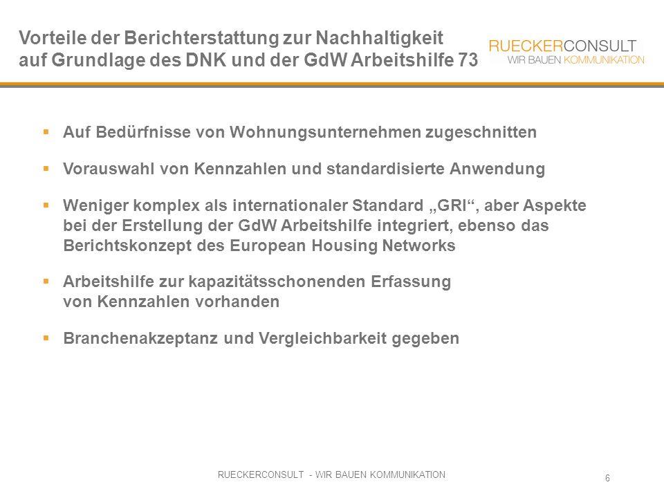 """RUECKERCONSULT - WIR BAUEN KOMMUNIKATION 6  Auf Bedürfnisse von Wohnungsunternehmen zugeschnitten  Vorauswahl von Kennzahlen und standardisierte Anwendung  Weniger komplex als internationaler Standard """"GRI , aber Aspekte bei der Erstellung der GdW Arbeitshilfe integriert, ebenso das Berichtskonzept des European Housing Networks  Arbeitshilfe zur kapazitätsschonenden Erfassung von Kennzahlen vorhanden  Branchenakzeptanz und Vergleichbarkeit gegeben Vorteile der Berichterstattung zur Nachhaltigkeit auf Grundlage des DNK und der GdW Arbeitshilfe 73"""