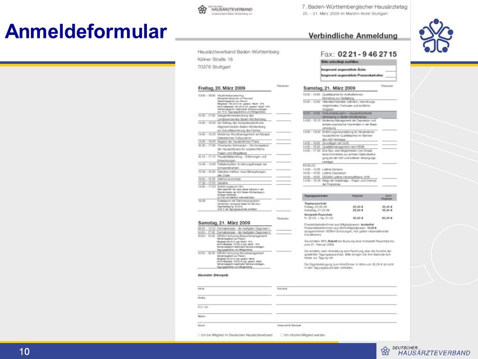 10 Anmeldeformular