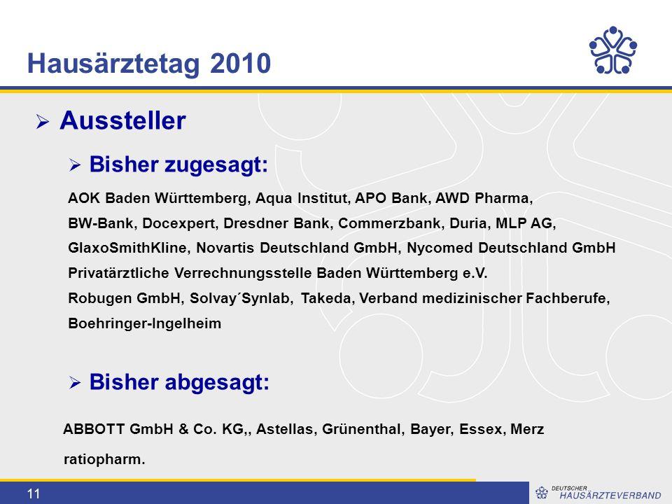 11  Aussteller  Bisher zugesagt: AOK Baden Württemberg, Aqua Institut, APO Bank, AWD Pharma, BW-Bank, Docexpert, Dresdner Bank, Commerzbank, Duria,