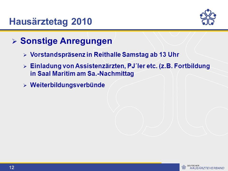 12  Sonstige Anregungen  Vorstandspräsenz in Reithalle Samstag ab 13 Uhr  Einladung von Assistenzärzten, PJ´ler etc.