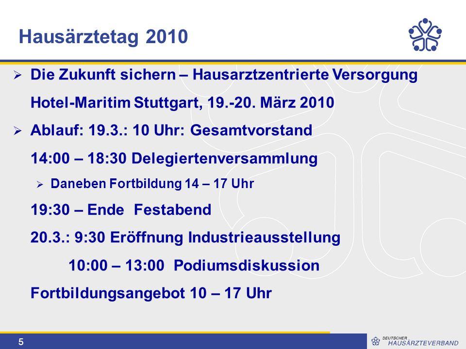 5  Die Zukunft sichern – Hausarztzentrierte Versorgung Hotel-Maritim Stuttgart, 19.-20. März 2010  Ablauf: 19.3.: 10 Uhr: Gesamtvorstand 14:00 – 18: