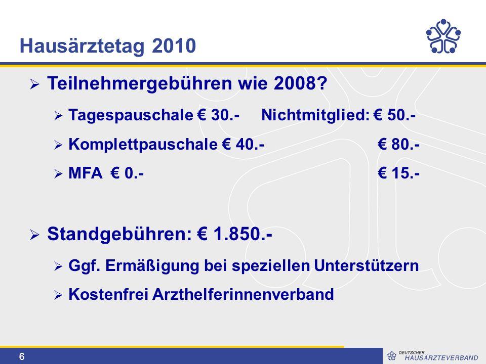 6  Teilnehmergebühren wie 2008?  Tagespauschale € 30.- Nichtmitglied: € 50.-  Komplettpauschale € 40.- € 80.-  MFA € 0.- € 15.-  Standgebühren: €