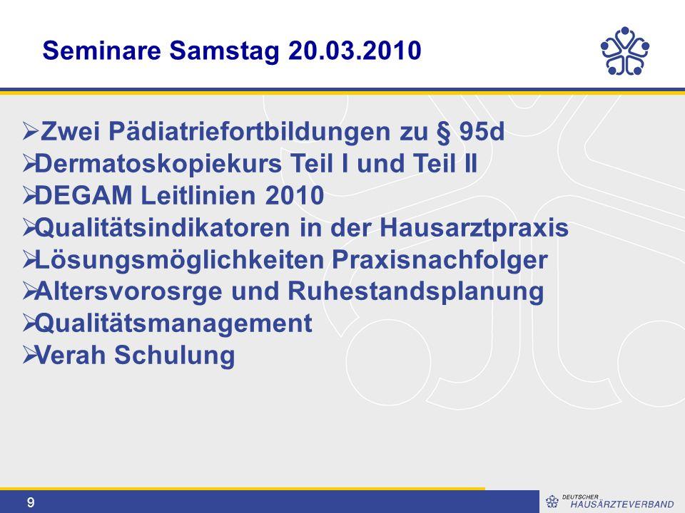 9 Seminare Samstag 20.03.2010  Zwei Pädiatriefortbildungen zu § 95d  Dermatoskopiekurs Teil I und Teil II  DEGAM Leitlinien 2010  Qualitätsindikat