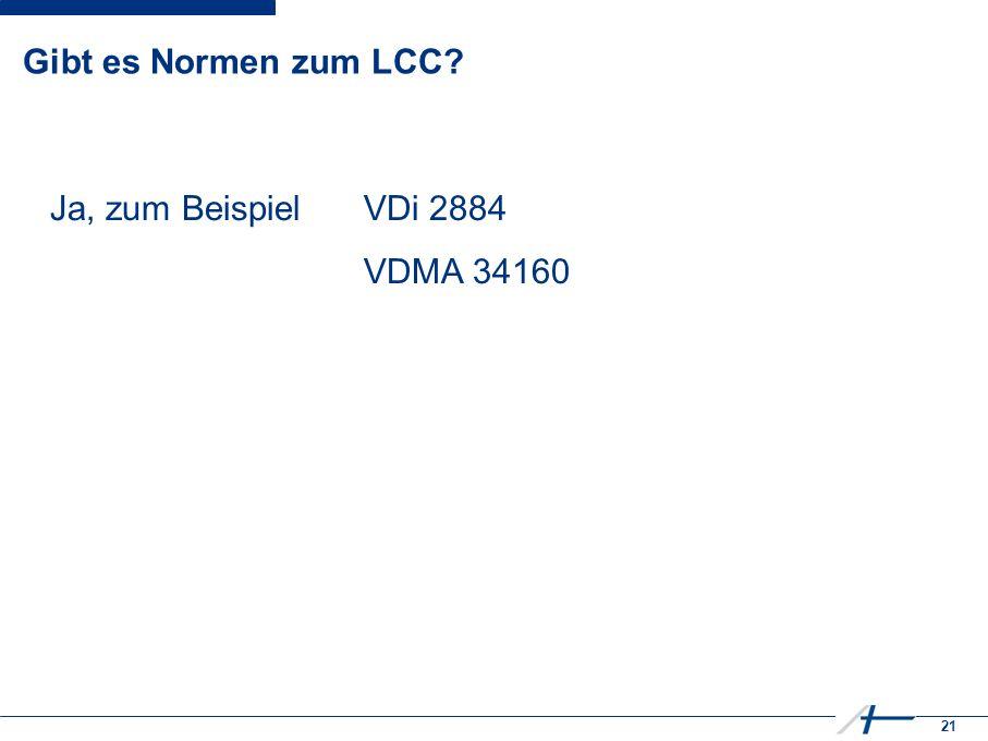 21 Gibt es Normen zum LCC Ja, zum BeispielVDi 2884 VDMA 34160