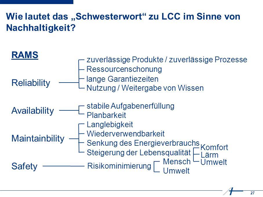 """27 Wie lautet das """"Schwesterwort zu LCC im Sinne von Nachhaltigkeit."""