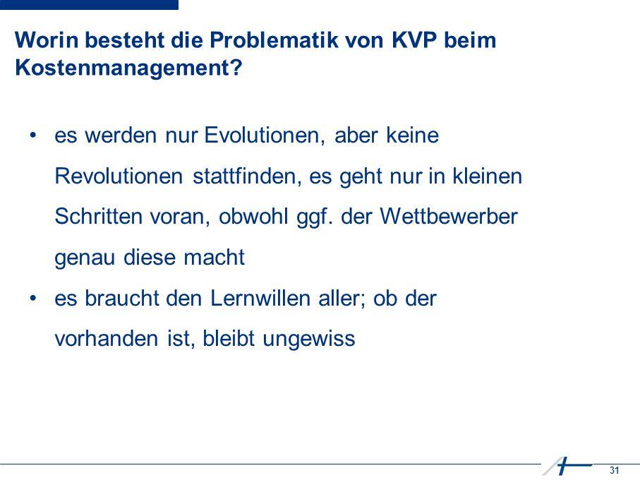 31 Worin besteht die Problematik von KVP beim Kostenmanagement.