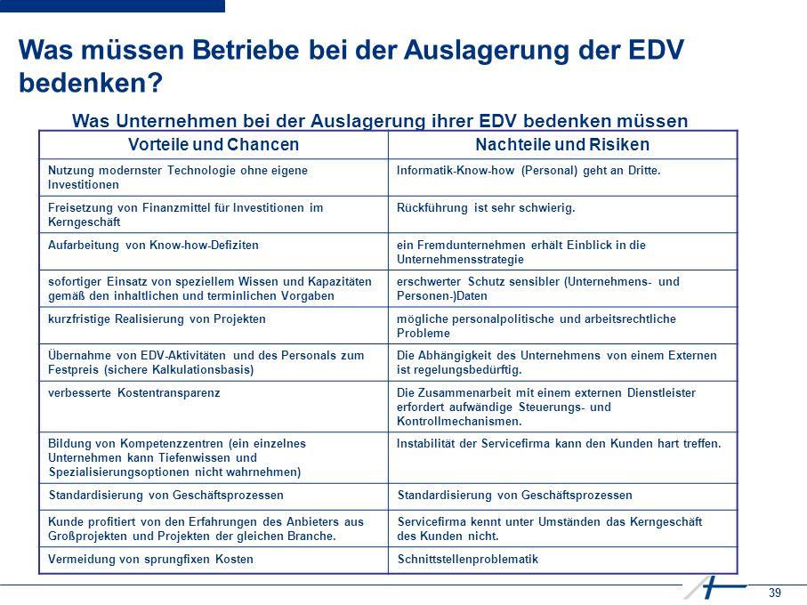 39 Was müssen Betriebe bei der Auslagerung der EDV bedenken.