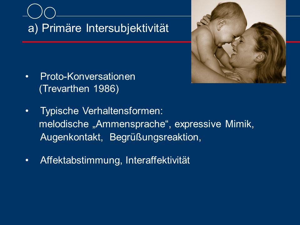 """a) Primäre Intersubjektivität Proto-Konversationen (Trevarthen 1986) Typische Verhaltensformen: melodische """"Ammensprache , expressive Mimik, Augenkontakt, Begrüßungsreaktion, Affektabstimmung, Interaffektivität"""